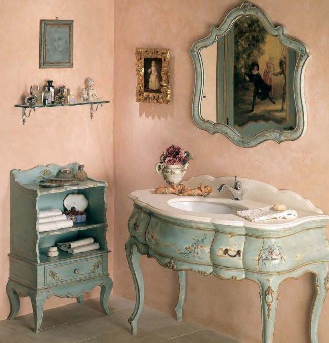 Ванная комната в стиле прованс смотрится восхитительно.