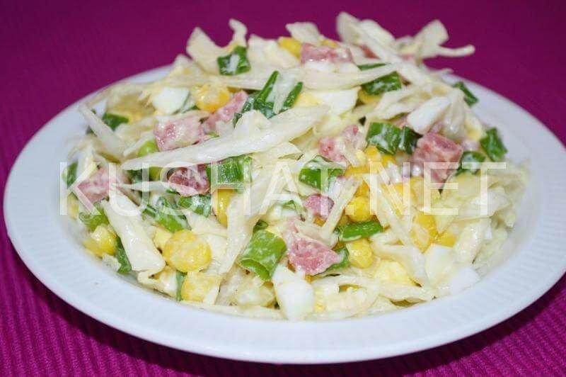 рецепт салата капуста с колбасой
