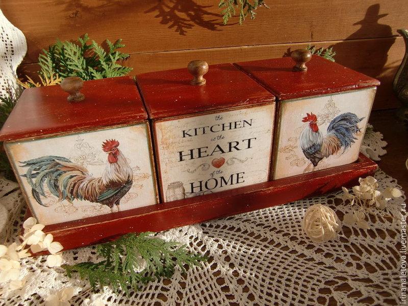 Набор коробов для кухни ' Петушки' от Ирины Налетовой.
