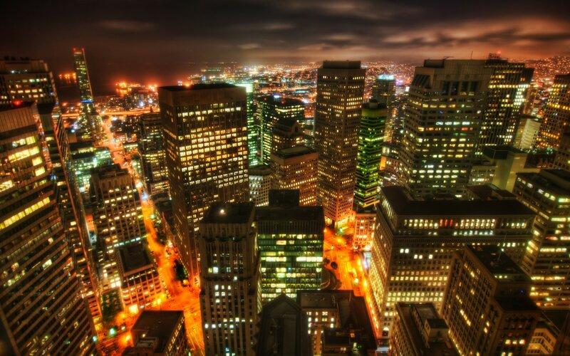 Город ночью, размер: 1920x1200 пикселей