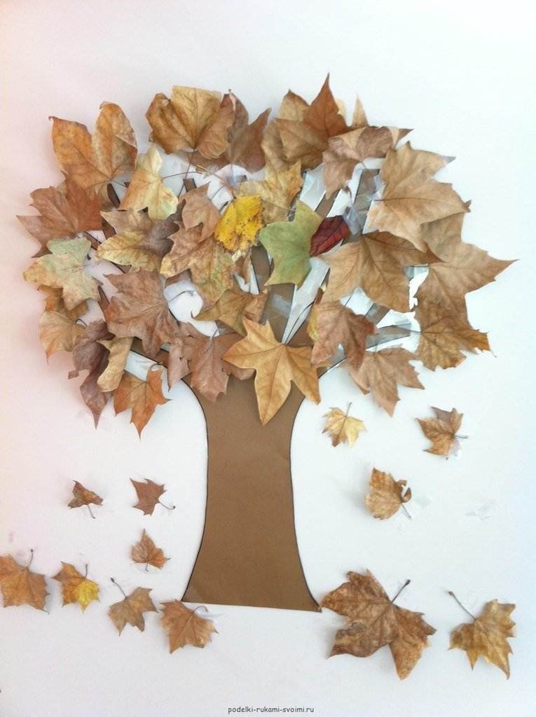 Утро, открытка из осенних листьев своими руками
