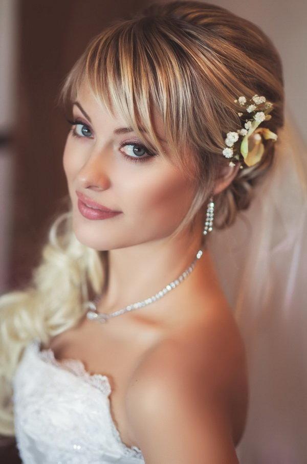 прическа невесты (шатуш на русые волосы)