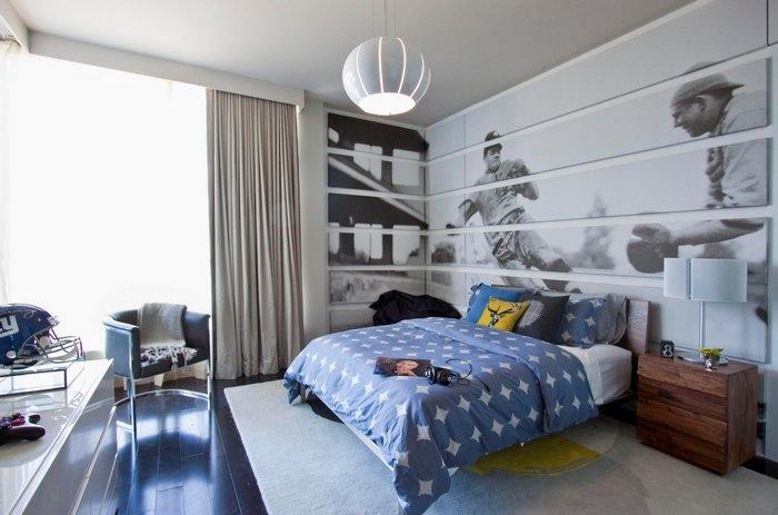 3д-обои для стен в интерьере: в спальню, для гостиной, для кухни. Фотопринт для спальни мальчика из нескольких сегментов