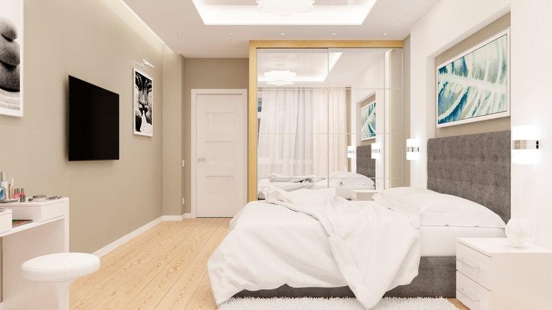 Дизайн интерьера для спальной комнаты является частью общего интерьера трех комнатной квартиры в свободной планировке... - Студия дизайна