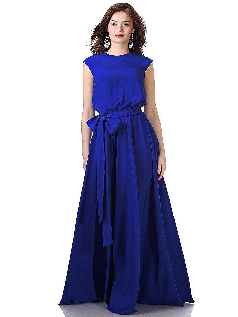 Красивые длинные синие платья фото