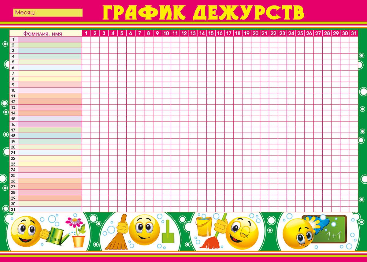 График дежурства в картинках в детском саду
