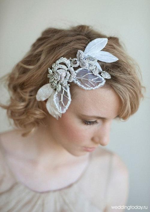 Свадебная прическа для невесты со стрижкой боб