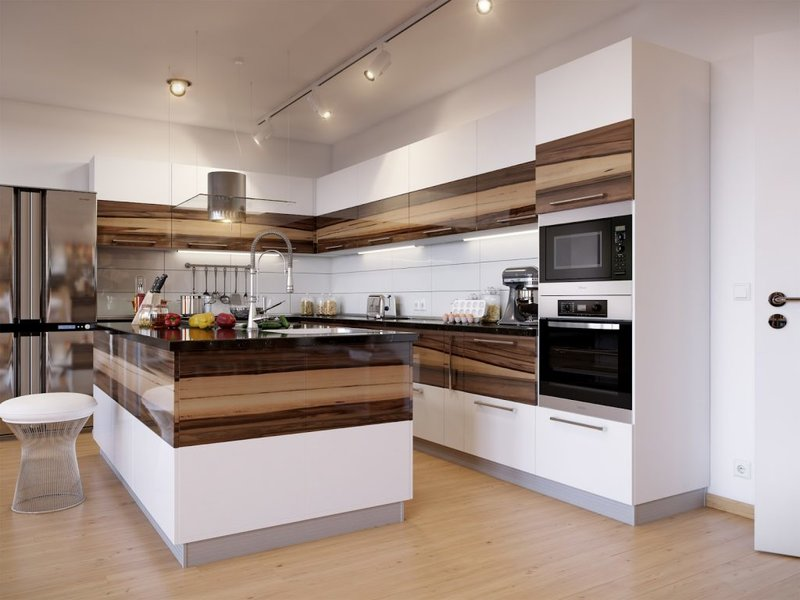Стильная кухня, выполненная с использованием двухцветных фасадов и островом, так же выполненном в двух цветах