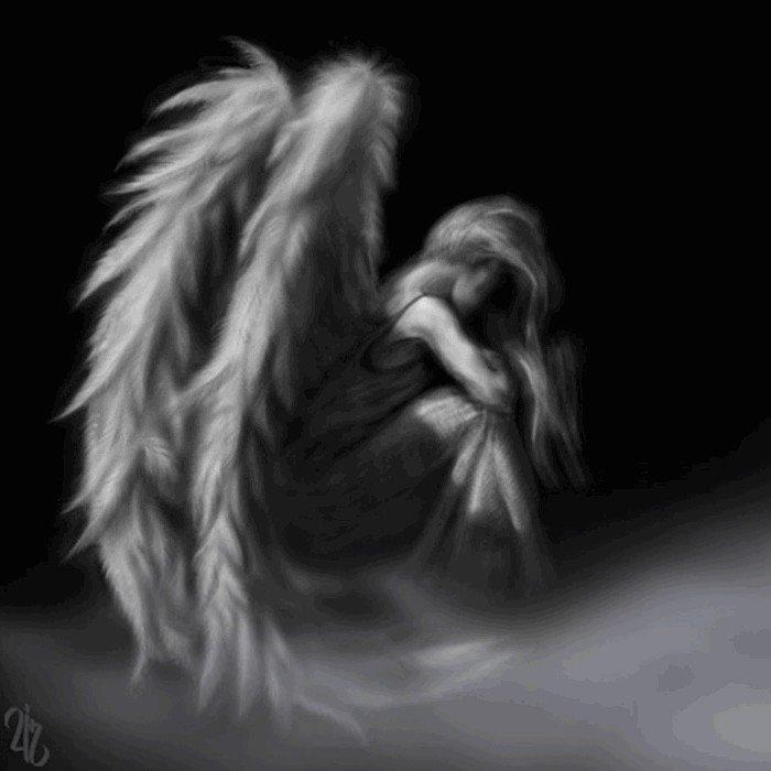 Открытка грустный ангел, поздравительная открытка