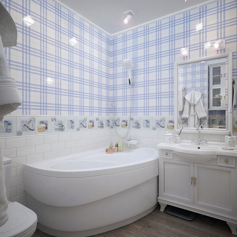 нежная светлая ванная