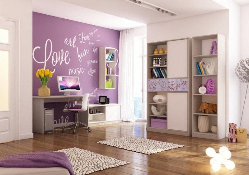 Легкие теплые тона детской комнаты для девочки