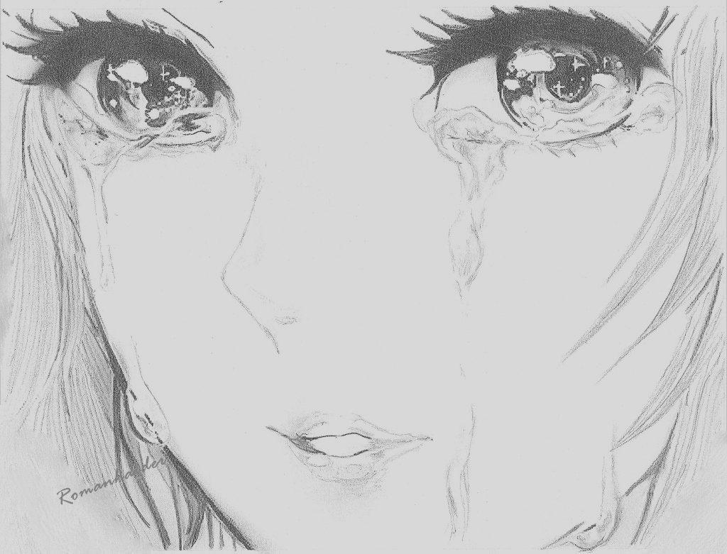 Картинки аниме плачущие девушки карандашом