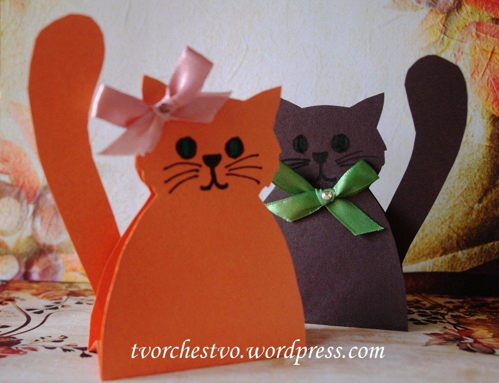 Как из бумаги сделать открытку кота, открыток