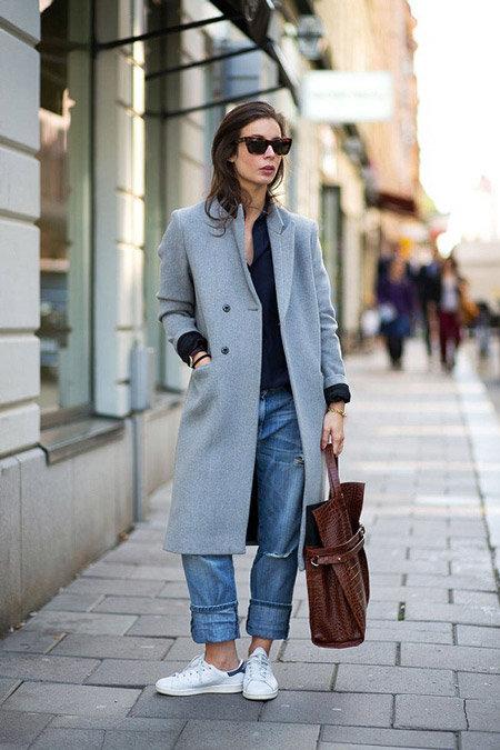Пальто бойфренд + джинсы байфренд.