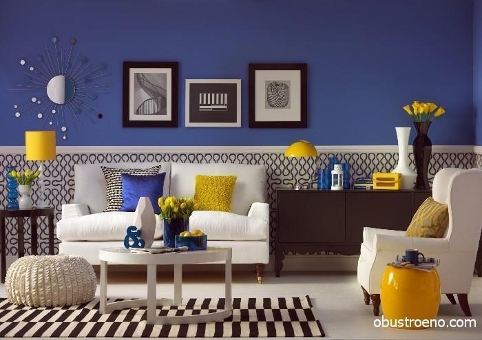Обои с принтом, черно-белый принтм на ковре и подушки с геометрией рисунка