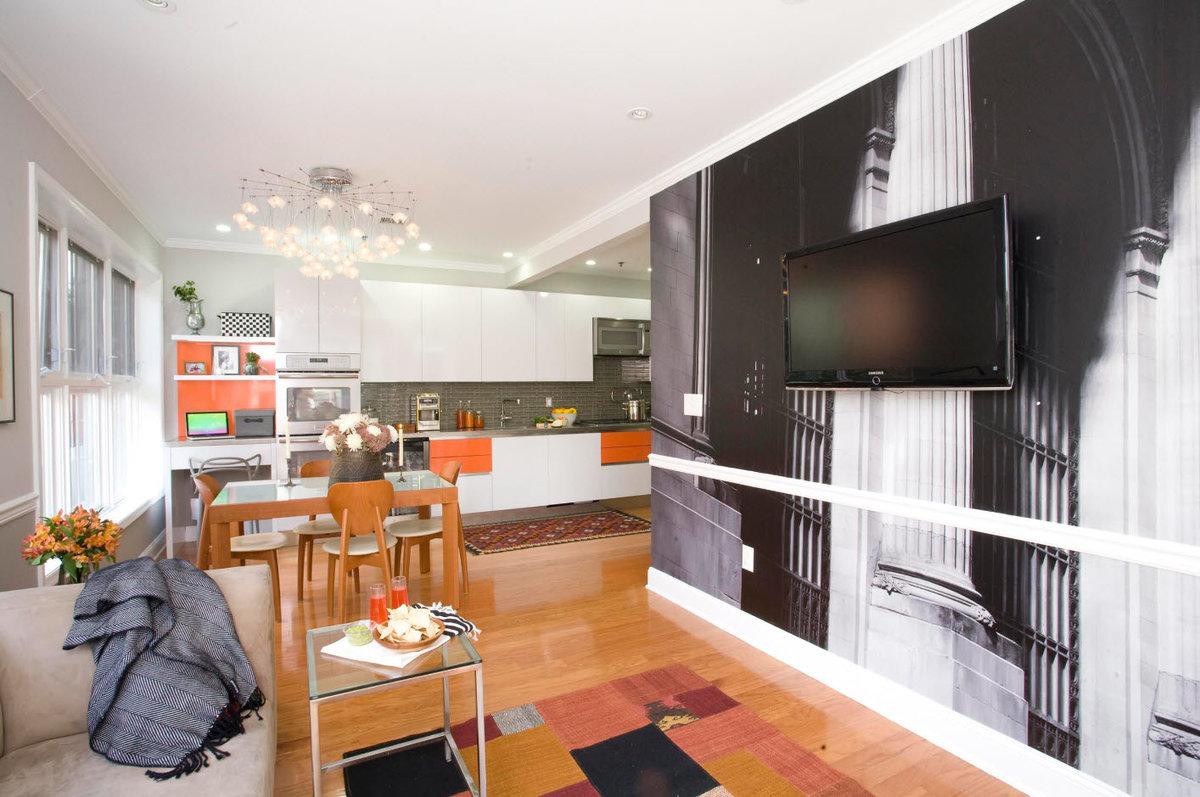 обои для кухни студии и зала интерьер учиться изо дня