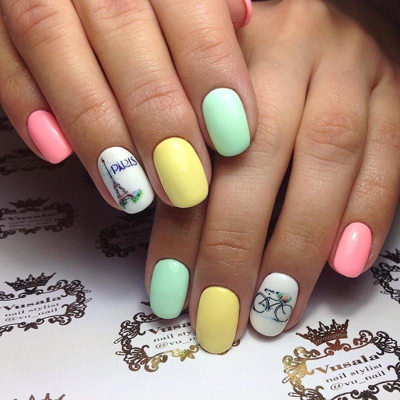 разноцветные ногти фото