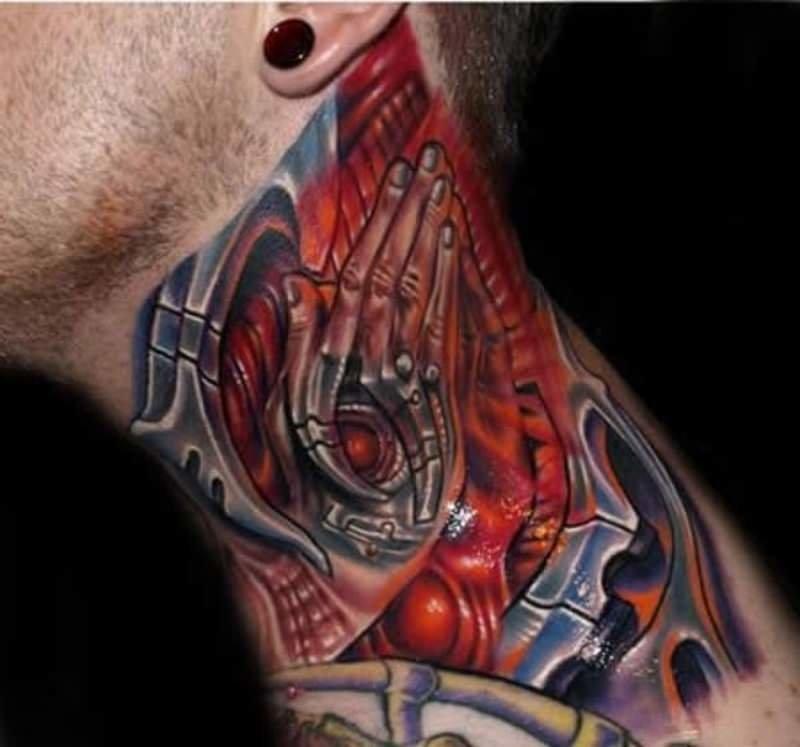 механическая шея тату фото
