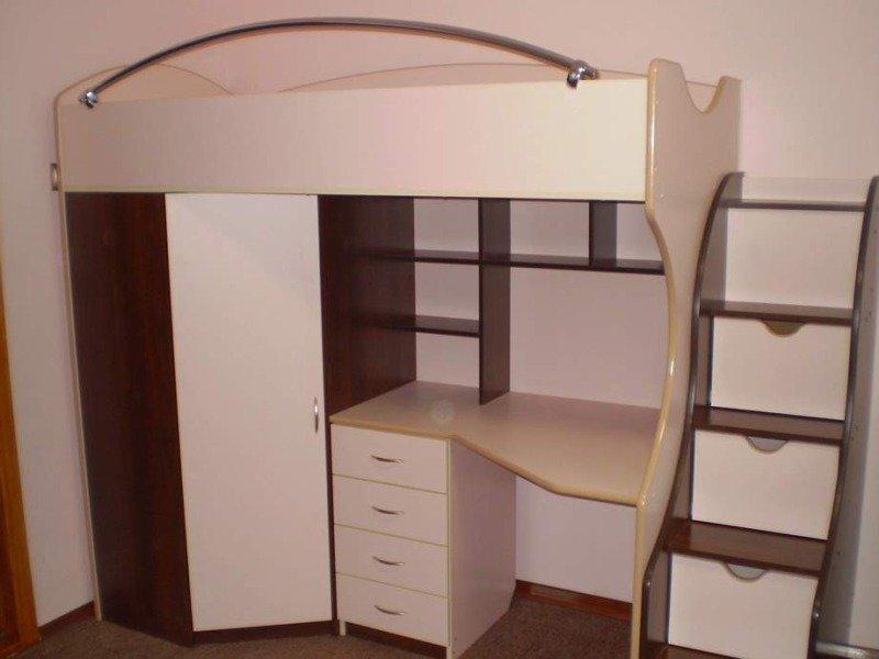 Детская кровать чердак с рабочей зоной Тошка