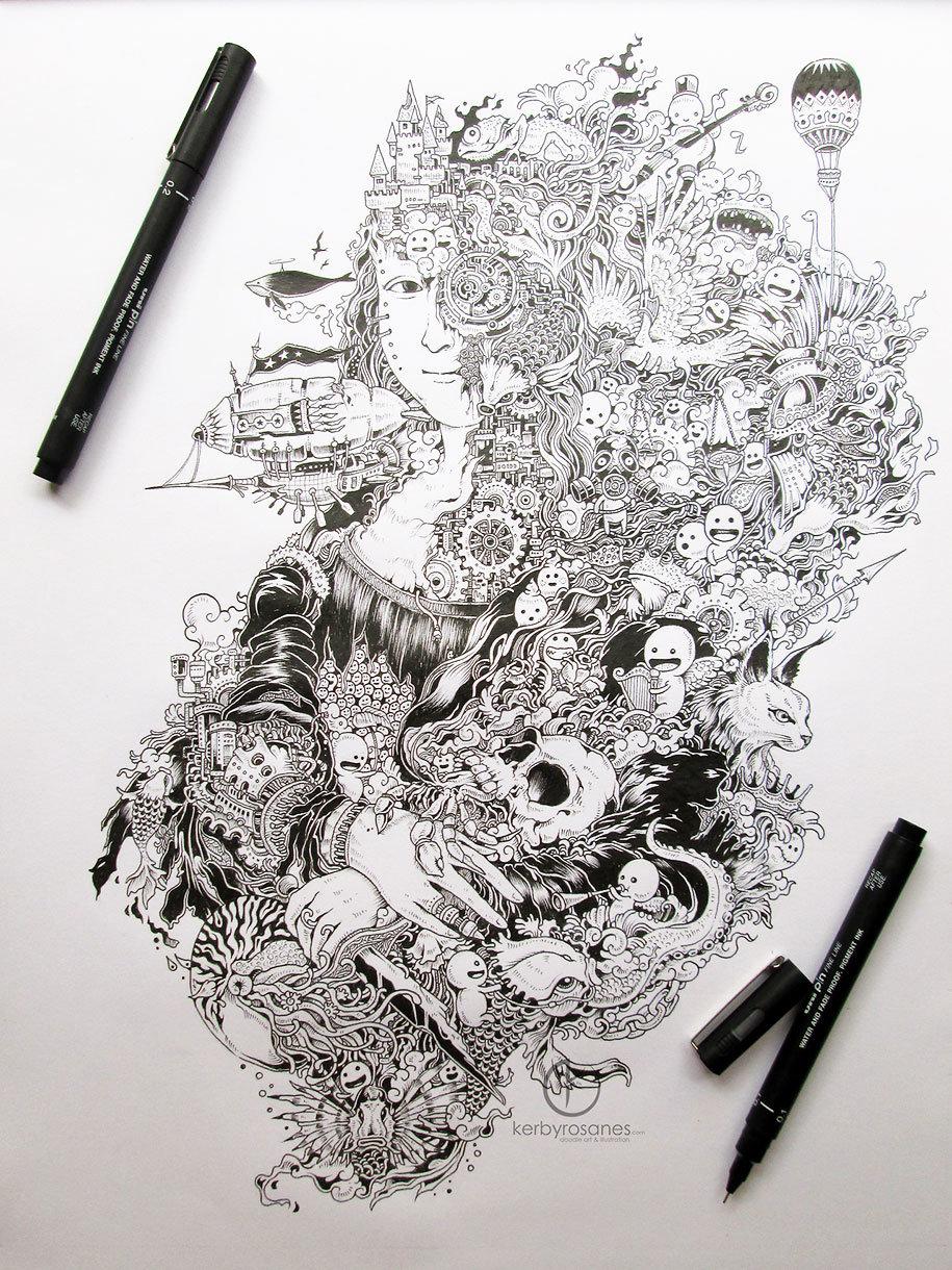 рисунки черной ручкой самоучки фото баню, все хорошо