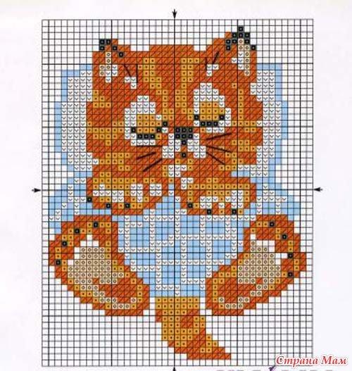 Схема вышивки - рыжий котенок.