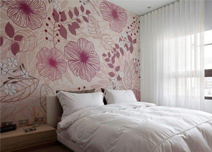 Дизайн интерьера спальни  Принты на обоях в спальне
