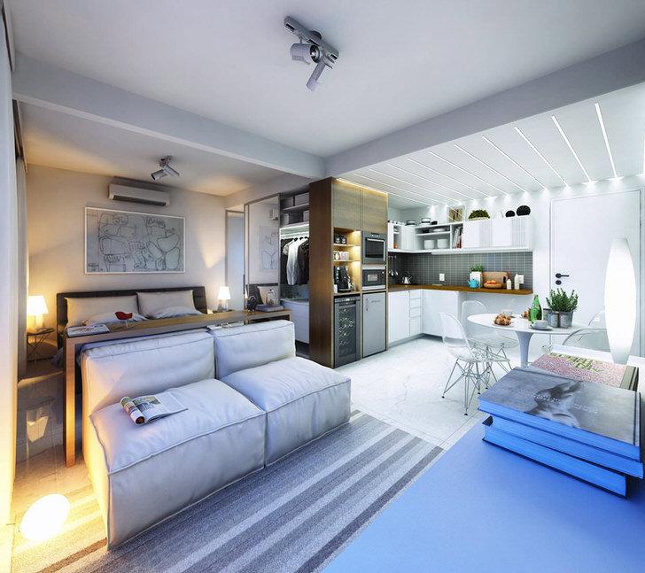 Квартира студия 30 кв м тоже может быть просторной и уютной.