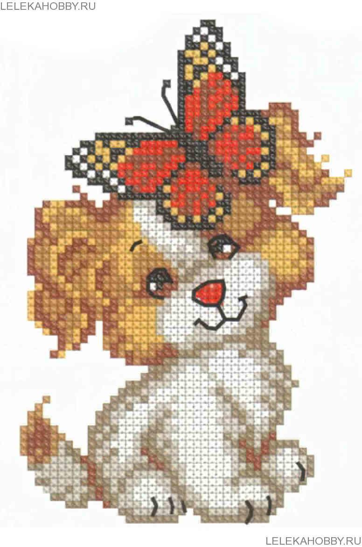 Схема вышивки собака с бабочкой.