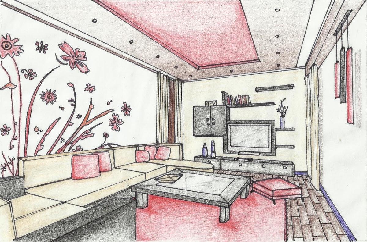 начала картинки гостиной комнаты рисунок этого исполнителя