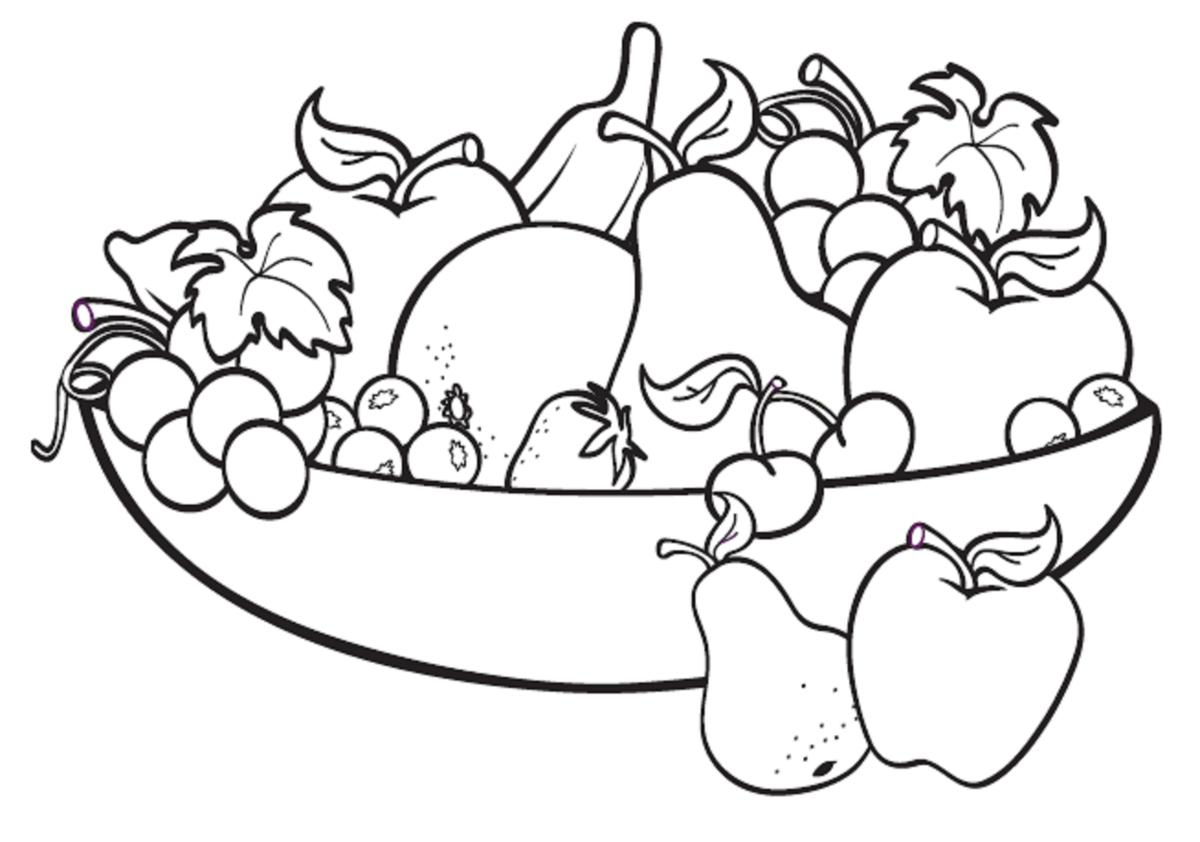 Раскраска фрукты в корзине