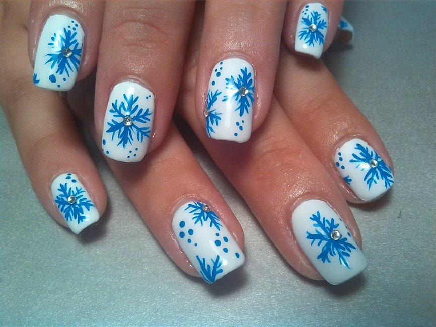 картинки со снежинками на ногтях количеству
