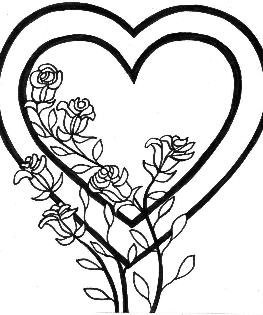 Раскраска сердечки красивые, смешные про