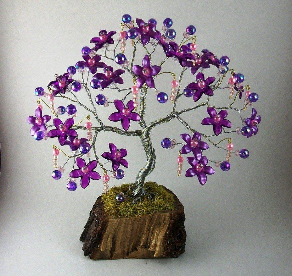 Поделки из бисера и проволоки деревья и цветы