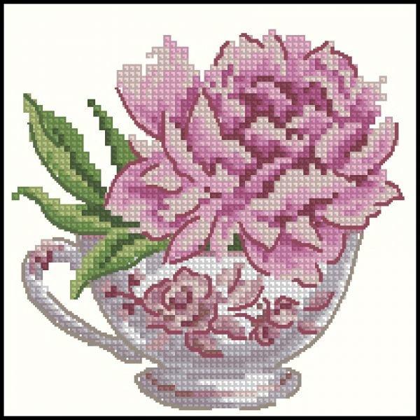 Чашечка с пионом - схема вышивки крестиком