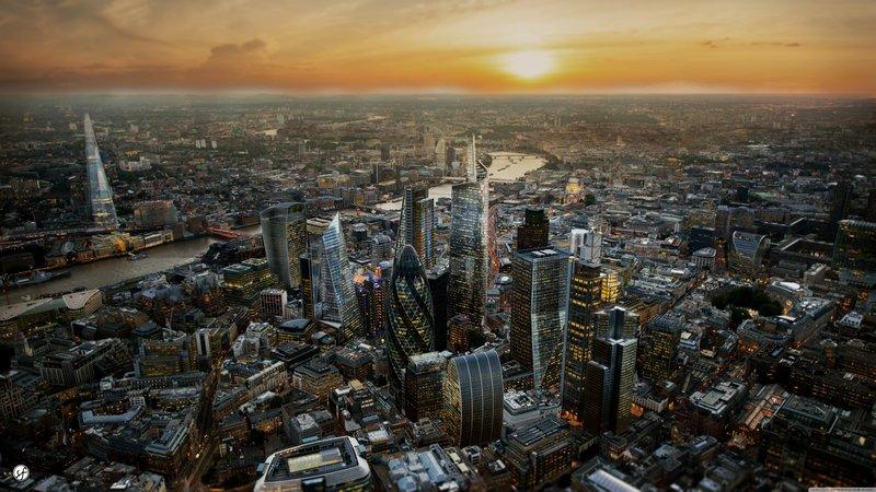 Вид на Лондон с высоты птичьего полёта.