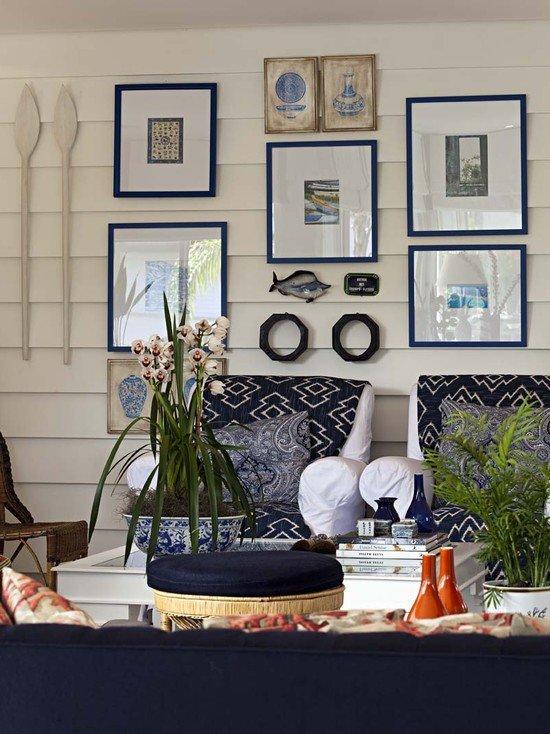 Растения в гостиной в средиземноморском стиле