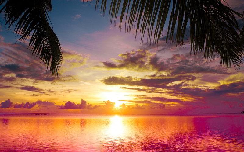 Красивый закат вид