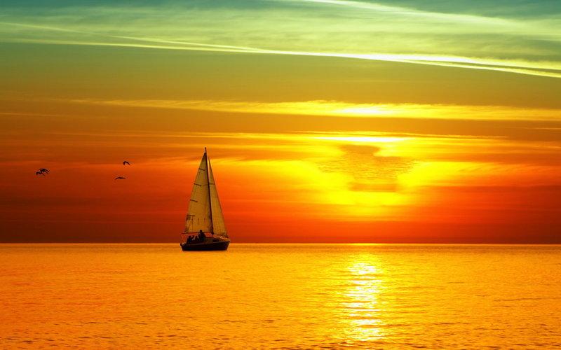 Красивый закат рай