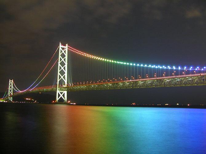Мост Акаси в Японии Один из величайших примеров японской инженерии – мост Акаси – держит рекорд, как самый длинный подвесной мост в мире, с полной длиной в 3911 метров. Потребовалось бы 4 бруклинских моста, чтобы охватить подобное расстояние. Потребовалось 12 лет, чтобы построить это сооружение. Странно, но мост не строился с намерением быть самым длинным висячим мостом в мире, но в 1995 после землетрясения пришлось добавить дополнительные секции, которые дали Акаси его рекорд. Общая длина кабелей моста составляет 300,000 км. Этого достаточно, чтобы окружить Землю 7.5 раз!