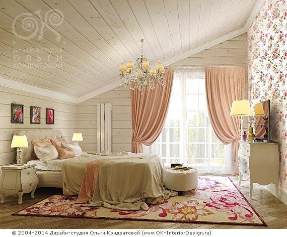 Дизайн спальни 15 кв. м в современном стиле с активным цветочным принтом