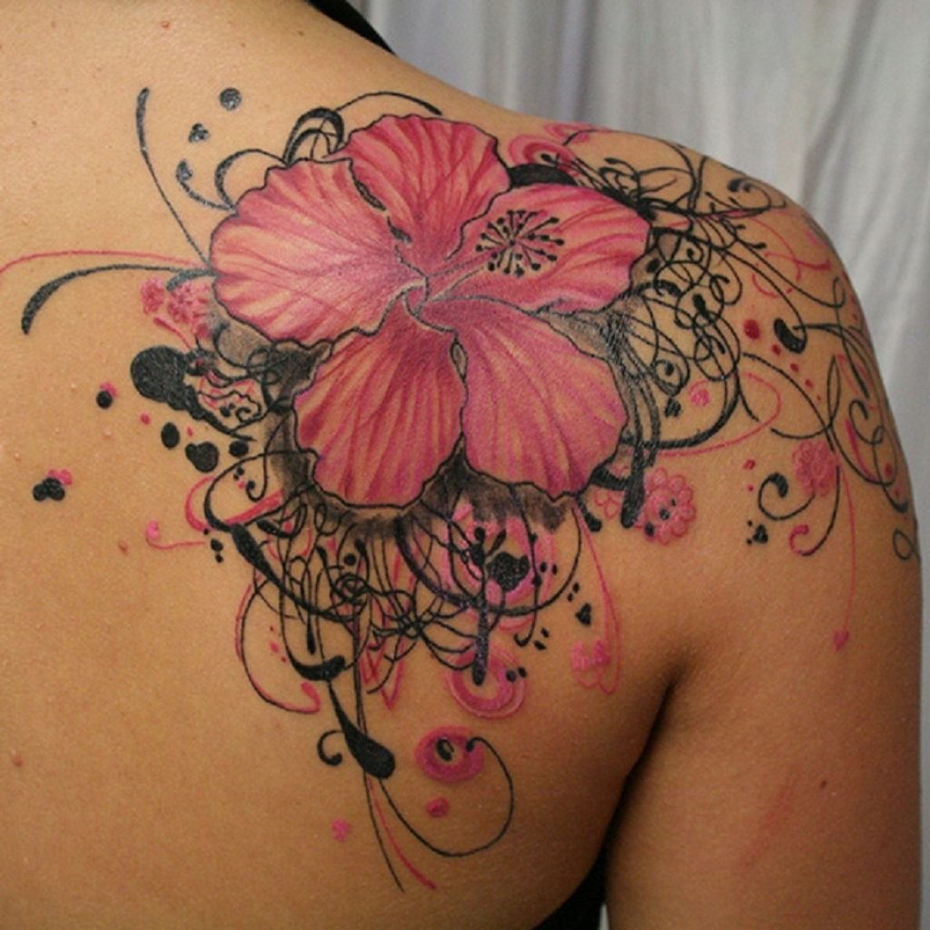 Beautiful Pink And Black Hibiscus Flower Tattoo On Shoulder Card
