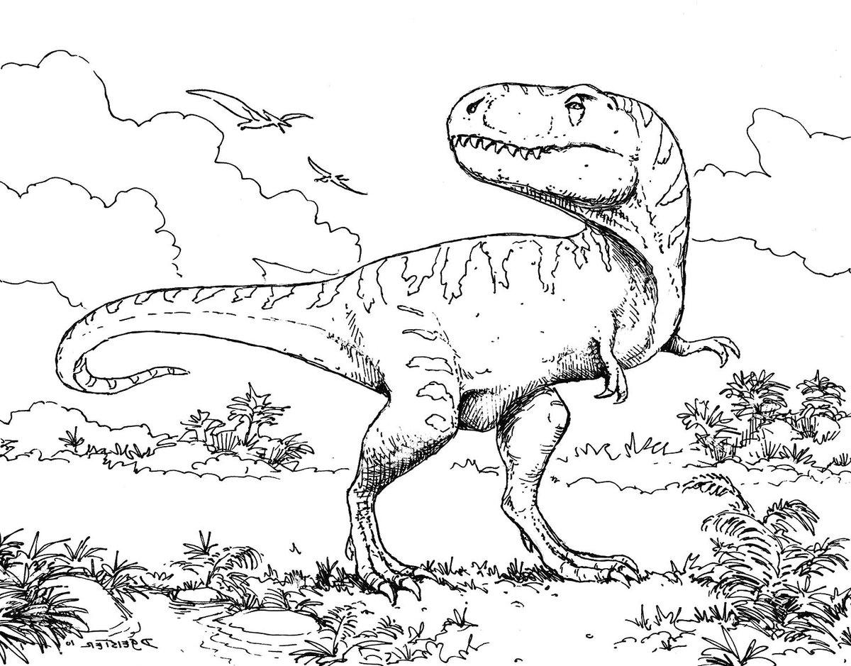 Динозавры рисунки черно белые