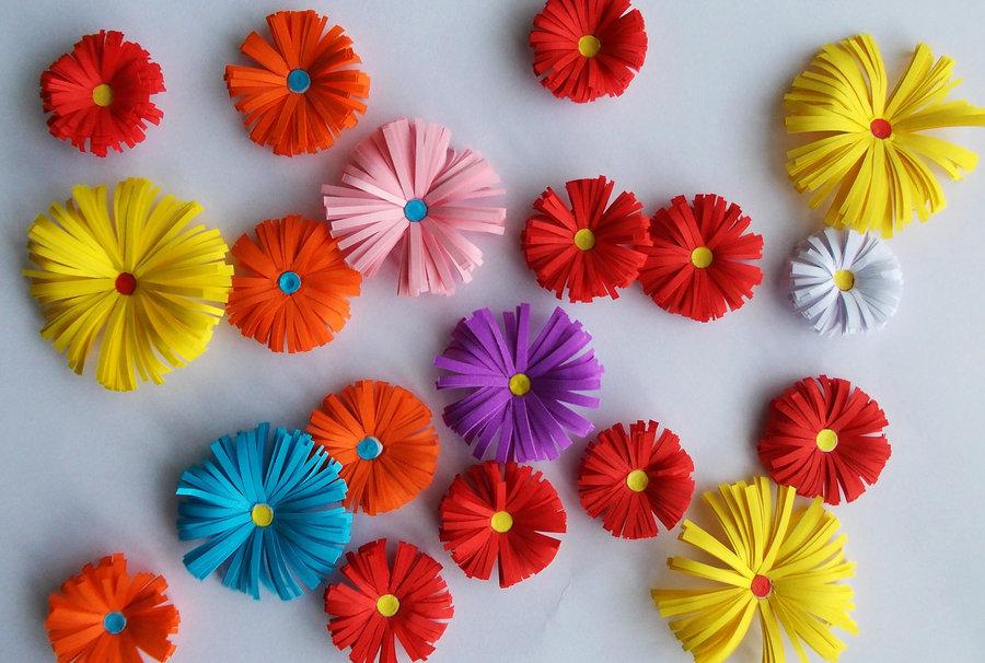 Поздравлением рождением, как сделать красивые цветы из цветной бумаги своими руками