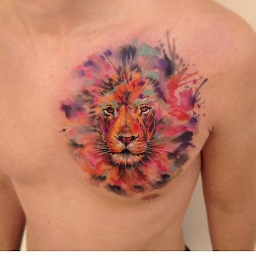 цветная тату тигр