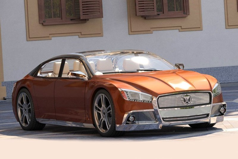 Volga 2020 Concept выполнен в лучших традициях советского автопрома: большой седан напоминает одновременно несколько машин различных иностранных марок.