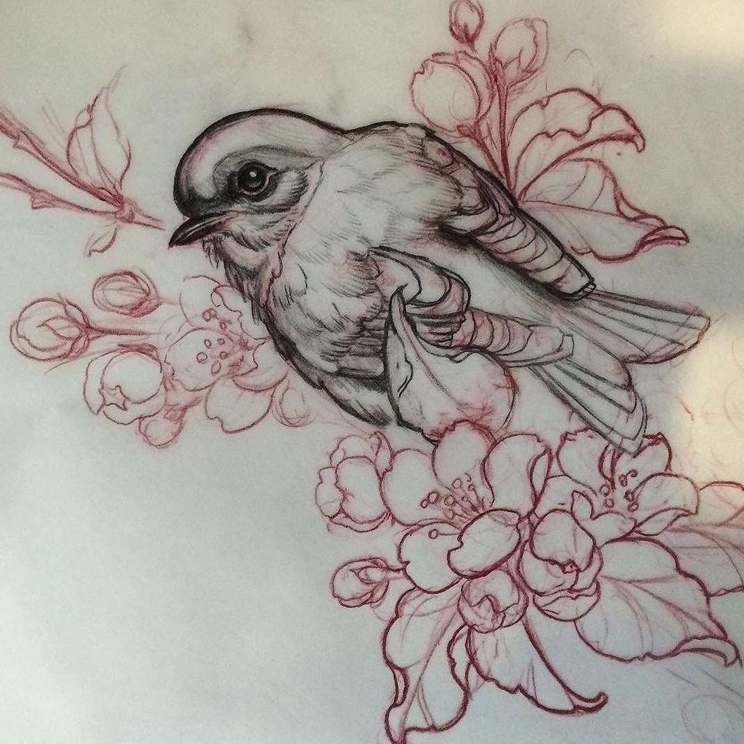 сделаем птицы на цветах эскиз тату честь юбилея артиста