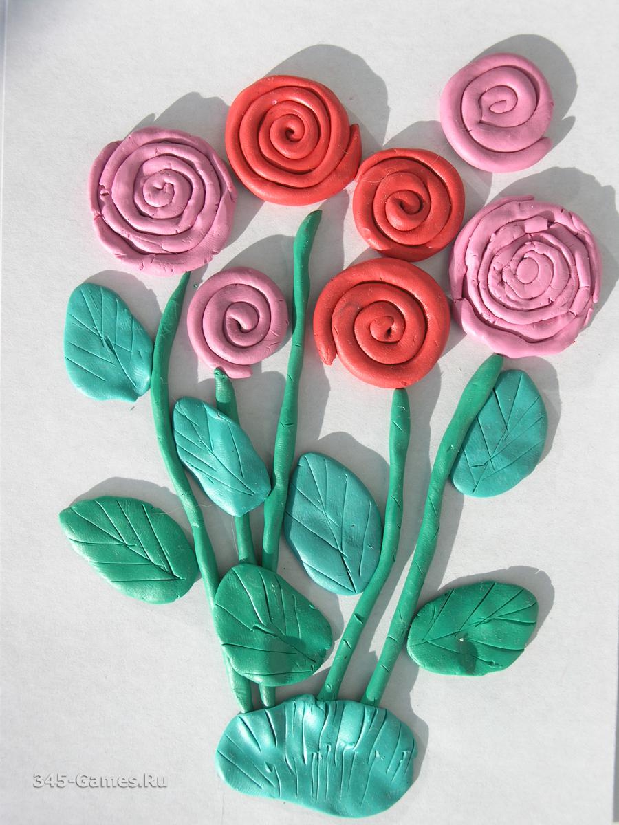 Цветок из пластилина для малышей