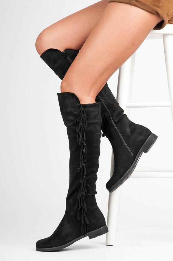 Сапоги осенние женские замшевые на каблуке