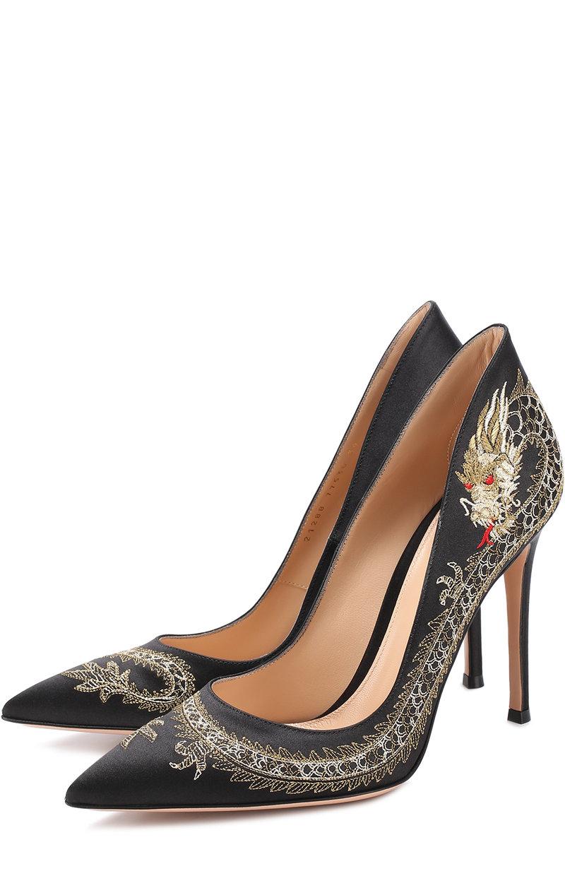 Женские черные атласные туфли dragon на шпильке GIANVITO ROSSI для тематической свадьбы
