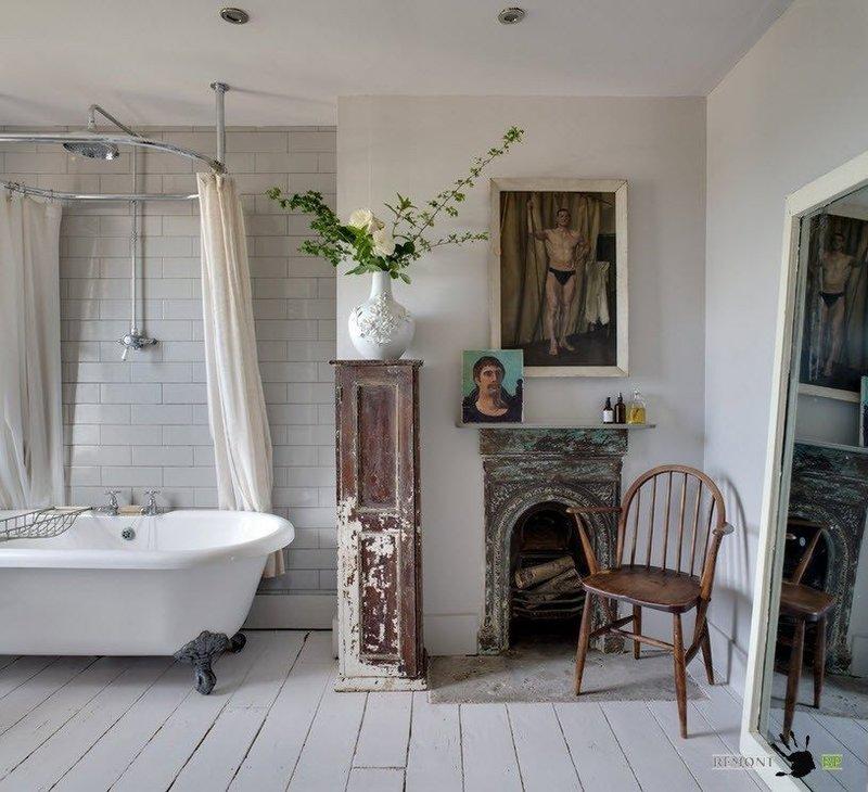 Шебби шик в ванной  холостяка